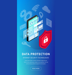 isometric internet security phone vertical banner vector image