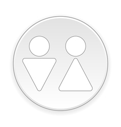Male and female restroom symbol button vector image