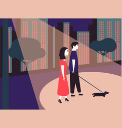 Man and woman walking with dogs in public city vector