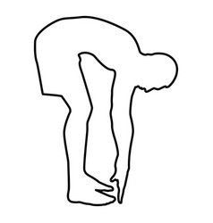 man bends down sportsman doing exercises sport vector image