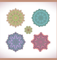 mandala colored set vector image
