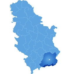 Map of Serbia Subdivision Pcinja District vector image