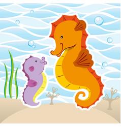 Marine animal mascot seahorse vector