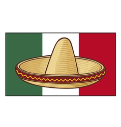 Mexico flag with sombrero vector
