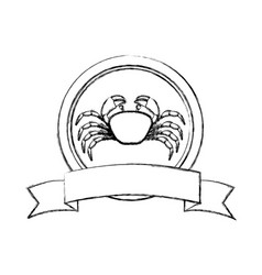 Monochrome blurred line contour with crab in vector
