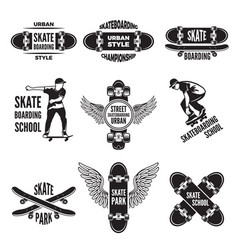 Monochrome labels of skaters pictures vector