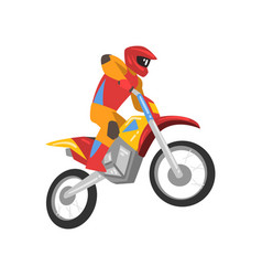 motorcyclist driving motorbike motocross racing vector image