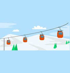 Mountain ski cabine concept background flat style vector