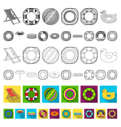 Multicolored swimming circle flat icons in set vector