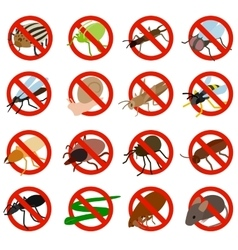 No insect sign icons set isometric 3d style vector