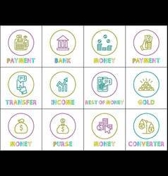 payment and bank money set vector image