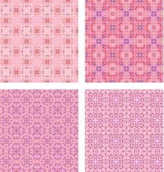 Pink seamless mosaic pattern background set vector