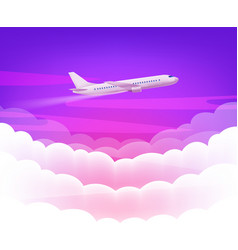 Pink sky and modern airplane with cute white vector