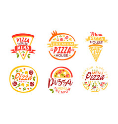 pizza house premium quality menu labels collection vector image