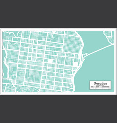 Posadas argentina city map in retro style outline vector