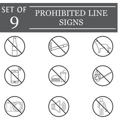 prohibited line icon set forbidden symbols vector image