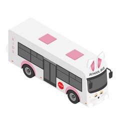 rabbit school bus icon isometric style vector image