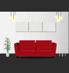 red sofa with lamp and picture frames in living vector image