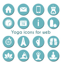 set 16 yoga and fitness icons for web vector image