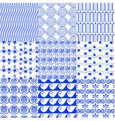 set greek traditional seamless tiled blue vector image