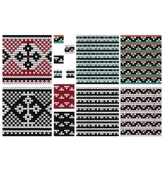 Set of knitting seamless pattern with cross vector