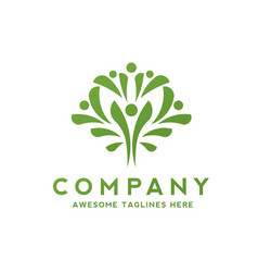 simple people as green tree logo vector image