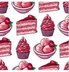 sketch cake cupcakes and pastries seamless pattern vector image
