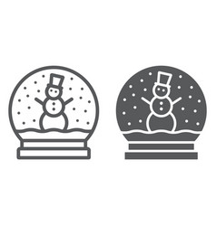 snow globe line and glyph icon christmas vector image