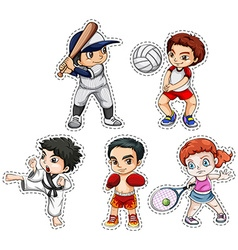 Sticker set of kids doing many sports vector image