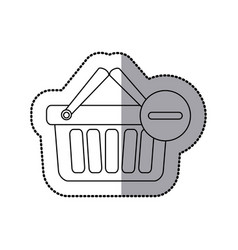 sticker silhouette with shopping basket with two vector image