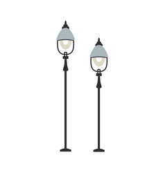 street lanterns with one lamp set of streetlamps vector image