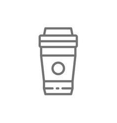 take-away drink coffee tea line icon vector image