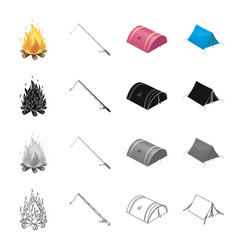 Tent lodging fortifications and other web icon vector