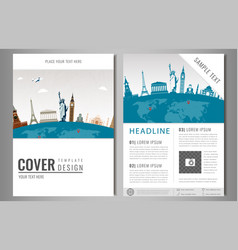 Travel flyer design with famous world landmarks vector