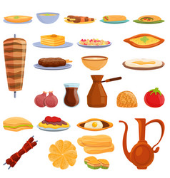 Turkish food icons set cartoon style vector