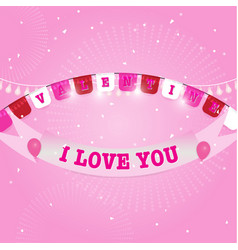 valentine day flags and ribbon with firework vector image