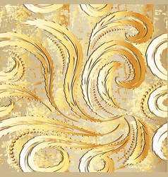 vintage gold baroque 3d seamless pattern vector image
