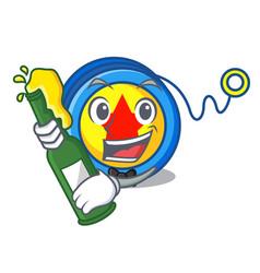 With beer yoyo mascot cartoon style vector