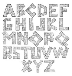 wooden alphabet engraving vector image