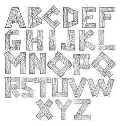 wooden alphabet engraving vector image
