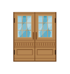 classic double wooden doors closed elegant front vector image