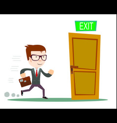 exit businessman running to opened door vector image