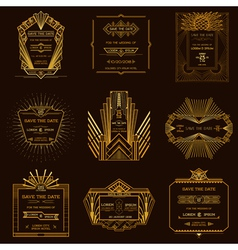 Set of wedding invitation cards - art deco vintage vector