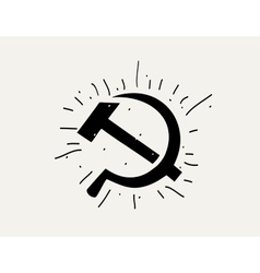 silhouette of the hammer and sickle vector image vector image