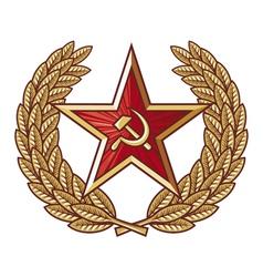 Soviet star and laurel wreath vector image vector image