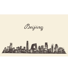 Beijing skyline engraved drawn sketch vector image vector image