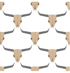 grunge seamless pattern with bull skulls vector image