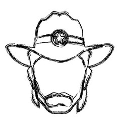 silhouette man cowboy wear hat image vector image