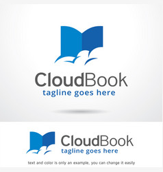cloud book logo template design vector image vector image