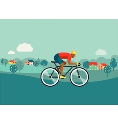 cyclist riding on bicycle on countryside poster vector image